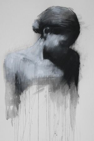 """Ciprana"" - Mark Demsteader, pastel, mixed midea {contemporary #expressionist art female head woman shadowed b+w portrait} markdemsteader.com"