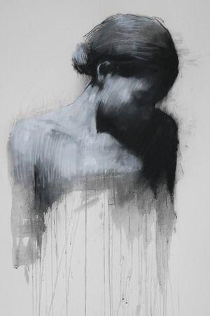 """Ciprana"" - Mark Demsteader, pastel, mixed midea {contemporary #expressionist art female head woman shadowed b+w portrait} markdemsteader.com"
