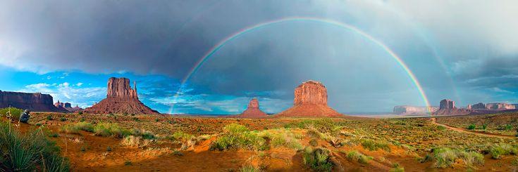 Двойная радуга. Панорама из 10 вертикальных кадров  #Долина Монументов. Юта #Аризона. Автор: Алексей Сулоев