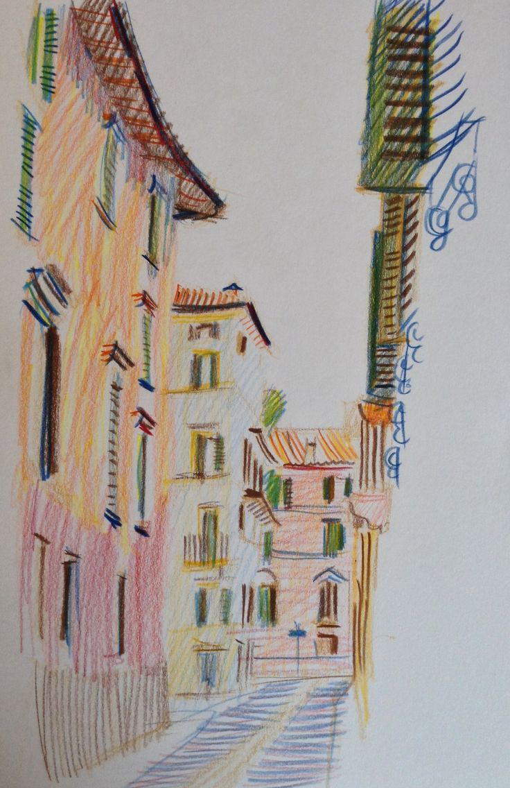 Verona 2014, pencil and ink drawing - © E Gaskell