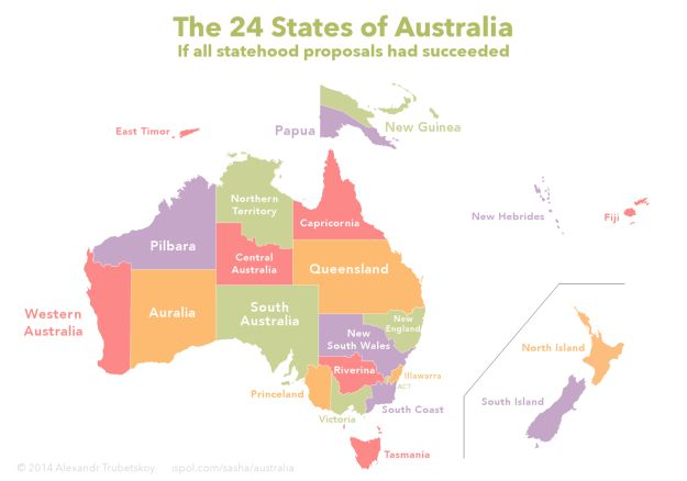 And this is how the country would have looked if all the proposed states actually existed.   29 Maps Of Australia That Will Kinda Blow Your Mind