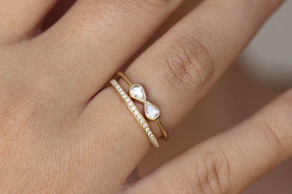 Diamond Infinity Ring with Diamond Eternity Ring by artemer