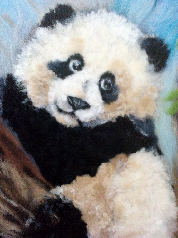 Art Painting of wool Bear Panda  Original handmade with frame