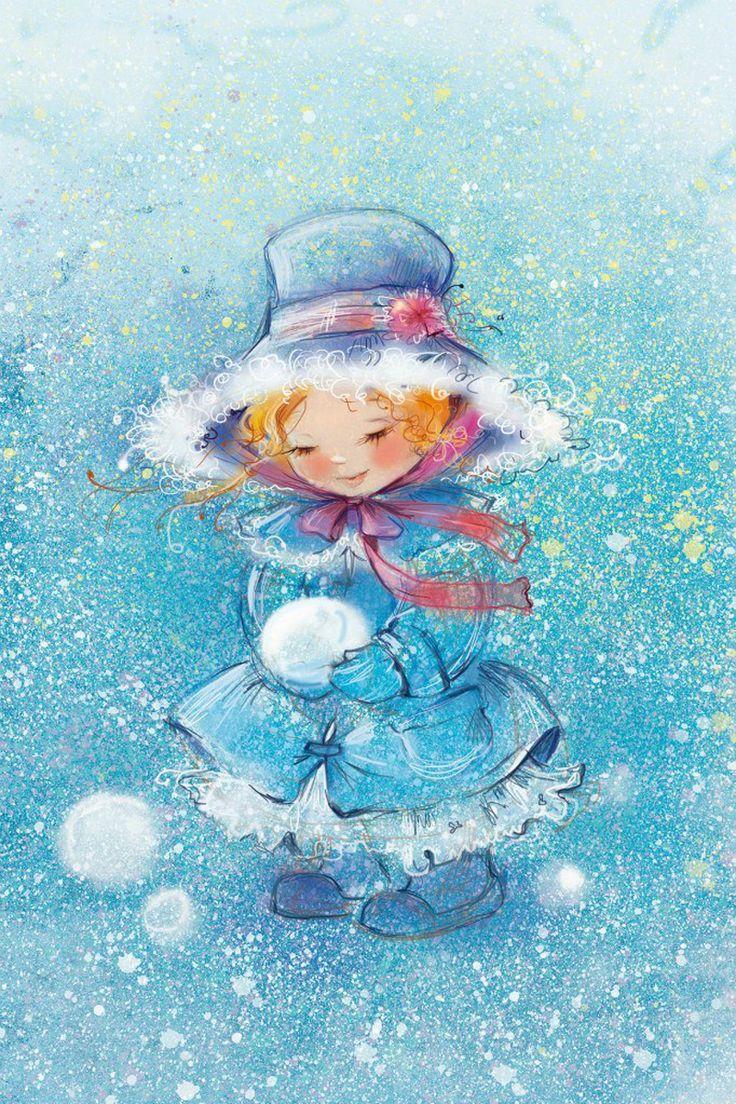 Зимние картинки с девочками рисованные