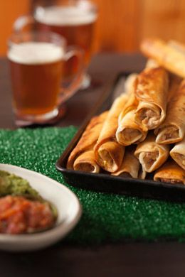 Pan fry these chicken taquitos for a lovely golden brown color! Rather than using bbq sauce, I'd use a creole sauce (a spicy tomato sauce with onions, green peppers, garlic and cayenne pepper)!