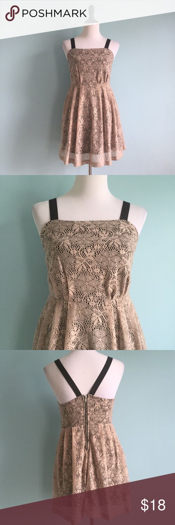 Tan & Black Lace Dress Cute tan lace dress with black lining underneath. Elastic straps that converge in the back. Pleating on skirt with fit & flare shape. Size 3 by Ruby Rox. Ruby Rox Dresses