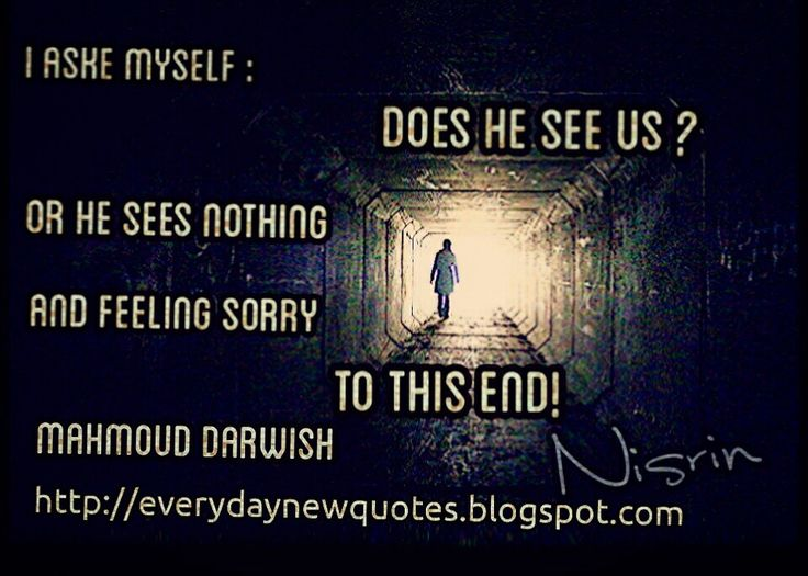 I asked myself does he see us or he sees nothing and feeling sorry to this End! Mahmoud Darwish  For more Wonderful quotes please visit my blog Everyday New Quotes :  http://everydaynewquotes.blogspot.se/2015/10/the-end.html?m=1  #Poet #Palestine #Darwish #poems #quotes #death #life #theend #end #sad #truth #nothingness #wondering #poems #mahmouddarwish #words #tunnel  Everyday New Quotes : http://everydaynewquotes.blogspot.com
