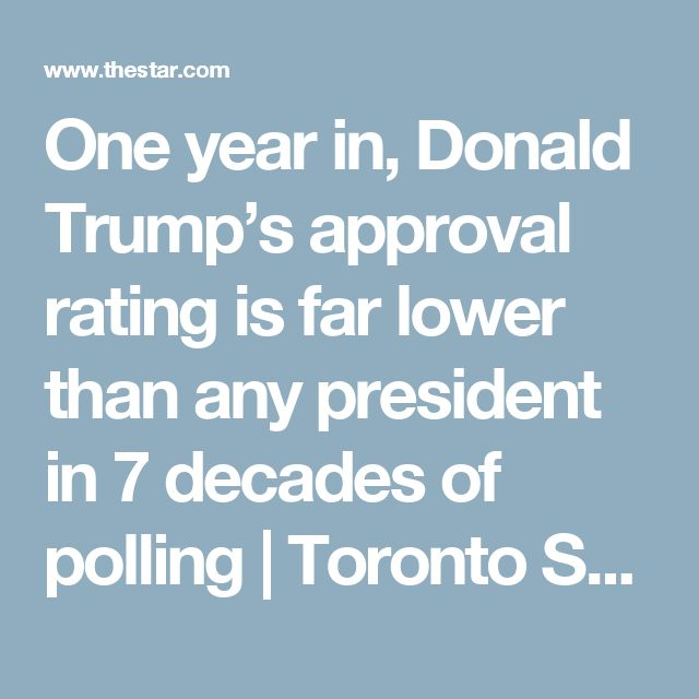 One year in, Donald Trump's approval rating is far lower than any president in 7 decades of polling | Toronto Star