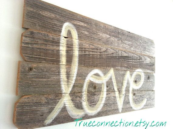 Headboard Rustic Wall Art Love Script Reclaimed Wood LARGE 44 x 22 Wooden Sign Wedding Decorations Farm House You Pick COLOR on Etsy, $75.00