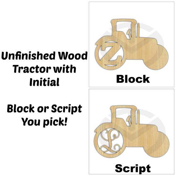 Tracteur bois inachevé Monogram porte cintre par TaraMarProducts