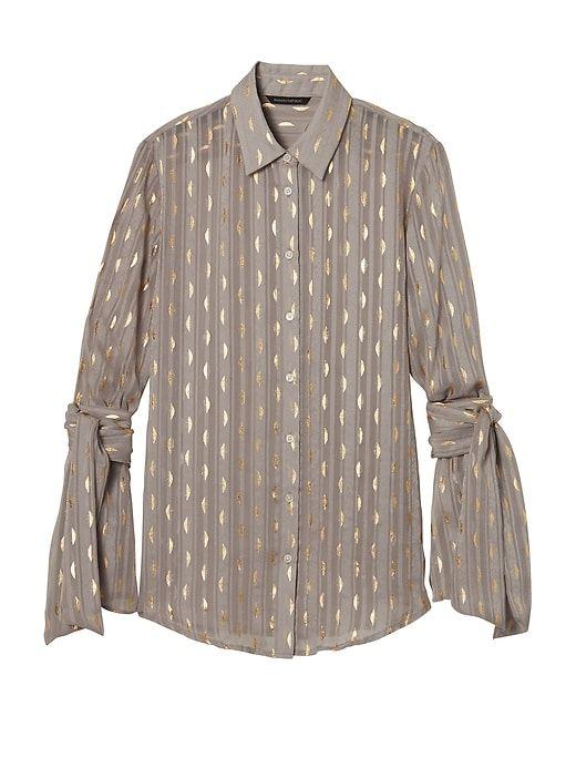 Banana Republic Womens Dillon-Fit Foil Stripe Tie-Sleeve Shirt Vintage Taupe