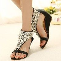 Wish | 2016 Summer open toe Rhinestone zipper pearl beaded wedges sandals women shoes high heel studded