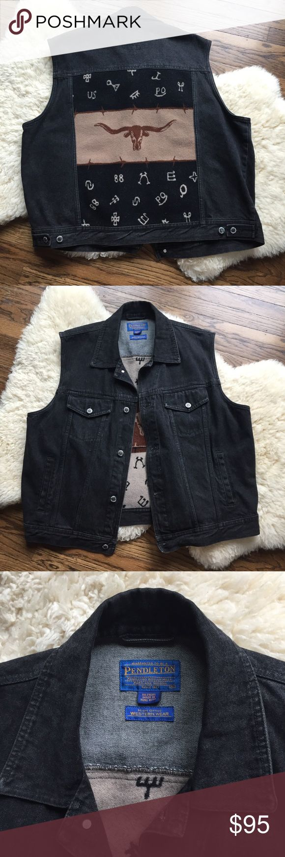 Pendleton Jean Vest with Back Panel Such an incredible piece! Pendleton is so well made and this in no exception. Black/dark gray jean vest with a Pendleton flannel panel across entire back. Perfect condition. Pendleton Jackets & Coats Vests