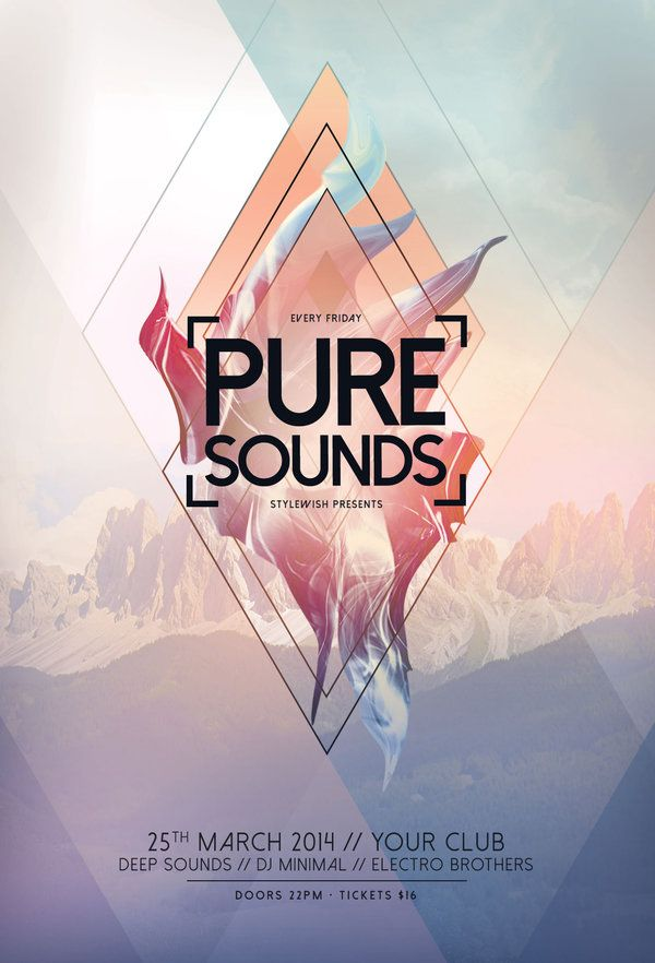Pure Sounds Flyer by styleWish on Graphicriver (Buy PSD file - $9). Creative poster design with abstract shapes and a mountain in the background. #design #poster #graphic