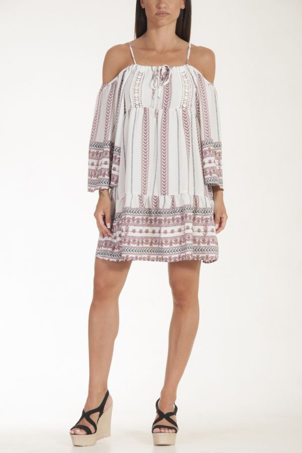 Φόρεμα κοντό λευκό με tribal γυναικείο glamorous