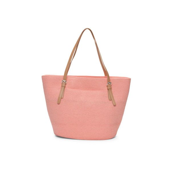 Straw Beach Tote ($25) ❤ liked on Polyvore featuring bags, handbags, tote bags, straw tote beach bag, red handbags, zipper tote, red tote bag and red purse