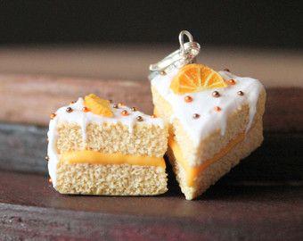 Polymer clay orange cake charm by Burgundy Pumpkin