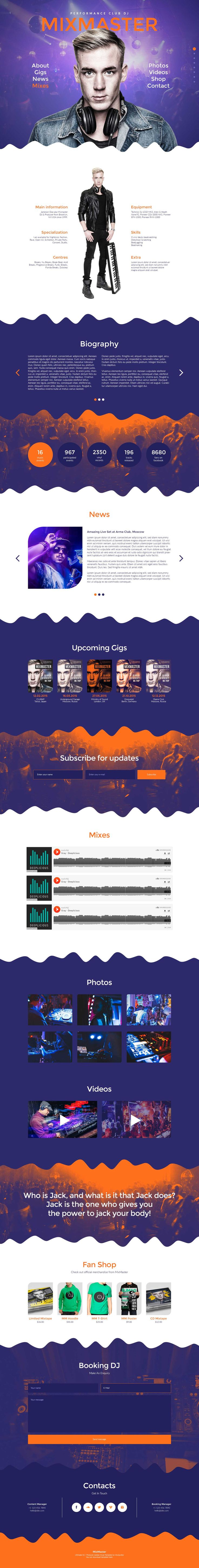 'MixMaster' is a great looking One Page Muse template suited for DJs or any individual artist. The template features a right dot navigation to browse the well presented (parallax scrolling) sections in the long page. Noteworthy features include Gumroad integration (for selling your digital products), biography slider, stats infographic, newsletter subscribe, Soundcloud embedding and a booking form.