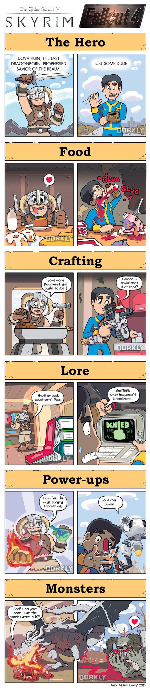 A fantastic comic by George Rottkamp and Tristan Cooper from Dorkly comparing the worlds of Skyrim and Fallout.    [Source: Dorkly]