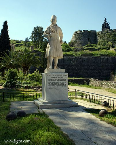 Statue of Staikos Staikopoulos in the small park between the Land Gate and the bottom of the steps to #Palamidi Castle in #Nafplio. On November 29th 1822, he led the company of Greek soldiers over the walls of Achilles bastion to overtake #Palamidi fortress form the Ottomans.