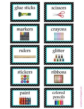Classroom organization labels (aqua and black/white polka dot)