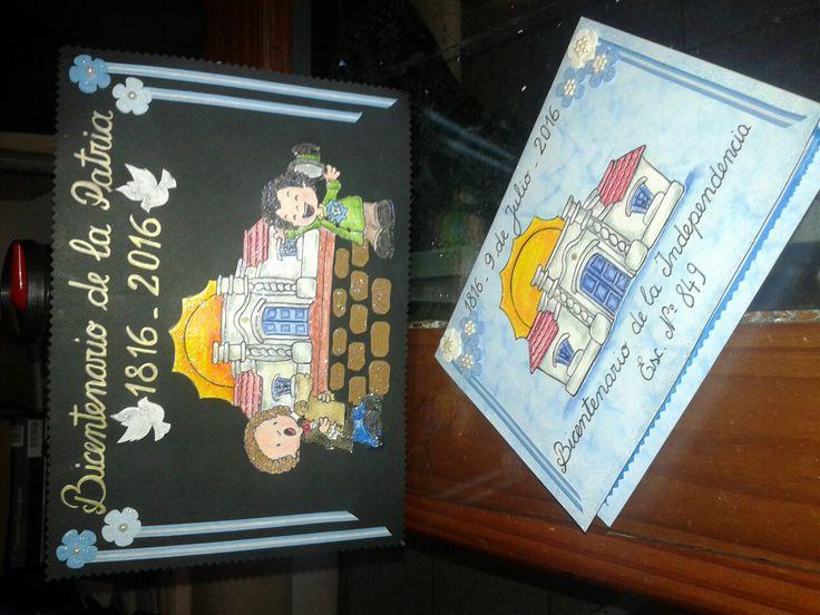 Carátula del libro de actos y tarjetas de invitación al acto del 9 de julio bicentenario de la Patria