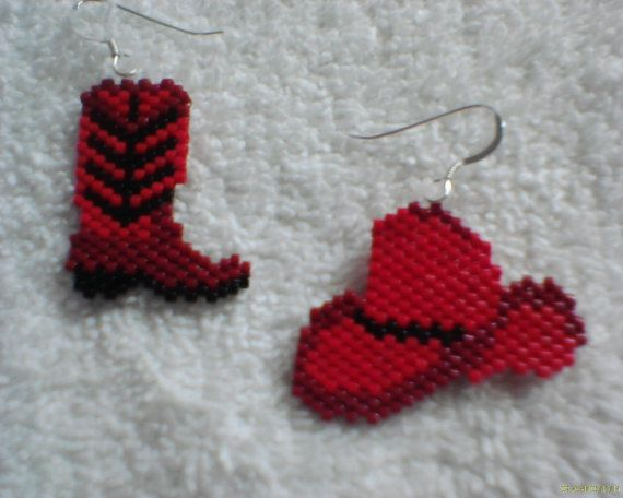 Cowboy Hat and Boot Earrings peyote stitch Delica by Beadedforu, $13.00