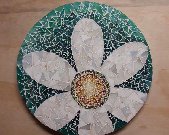 Mosaic Lazy Susan Daisy on Shades of Teal 15 Inch by HeatherMBC