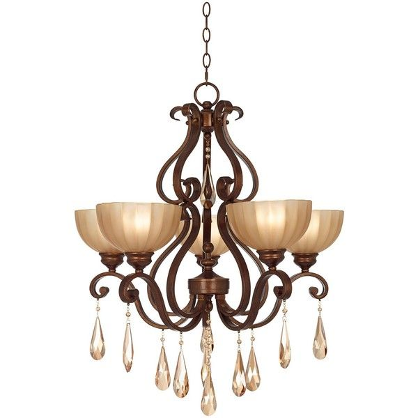 "Kathy Ireland Lovilia Iron Scroll 28"" Wide Golden Bronze Chandelier ($600) ❤ liked on Polyvore featuring home, lighting, ceiling lights, brown, chandeliers, kathy ireland lighting, iron chandelier lighting, iron lamp, kathy ireland lamps and iron lighting"