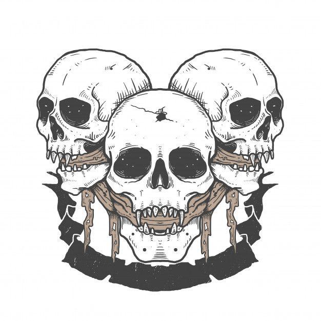 Skull Sketching Tattoo Design Illustration In 2020 Illustration Halloween Artwork Skull Sketch