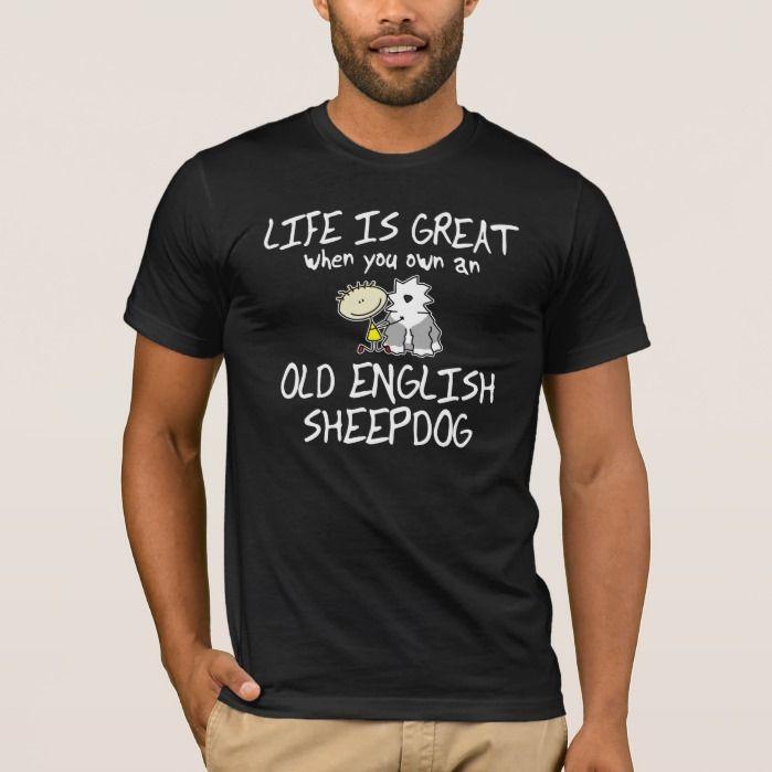 Life is Great Old English Sheepdog Dark T Shirt, Men's, Size: Adult L, Black