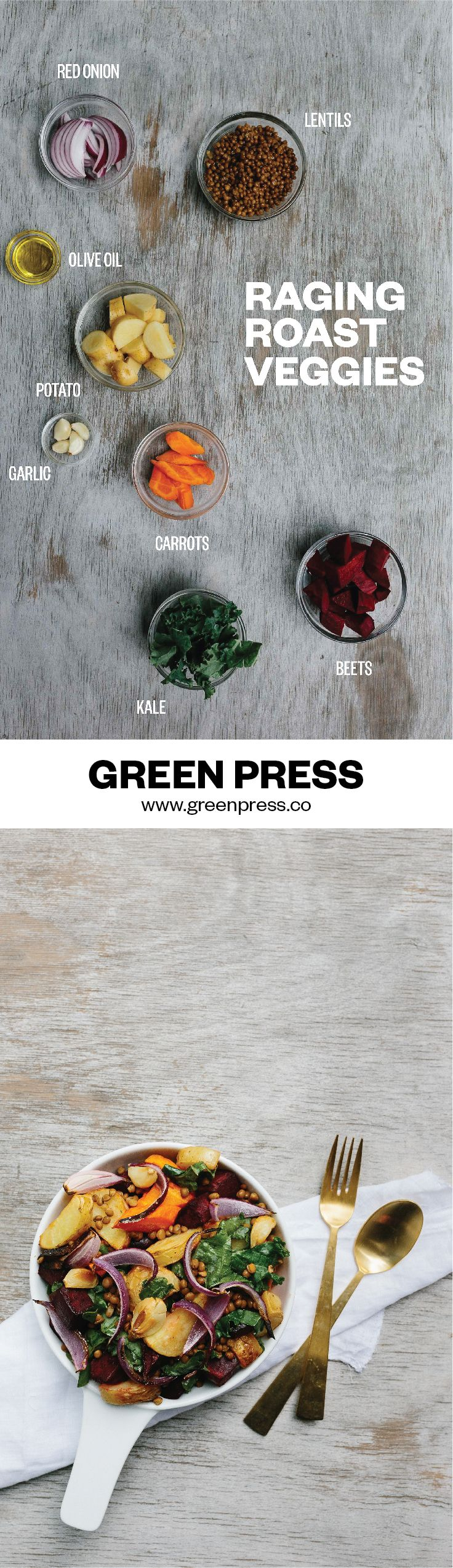 Learn how to make healthy and delicious vegetarian meals! Start by learning how to roast your veggies like a chef. Roast Veg and lentils, a heart warmer in winter and a life saver in summer, make a big batch and tuck in 3/4 times a week for dinner and lunch. | http://greenpress.co