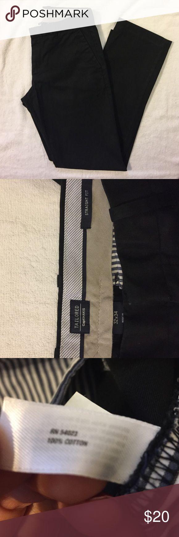 Men's GAP Black Khaki, 32x34 EUC GAP Pants Chinos & Khakis