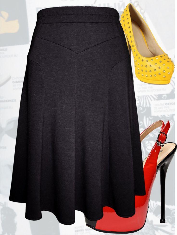 Юбка годе для полных женщин из трикотажа черного цвета