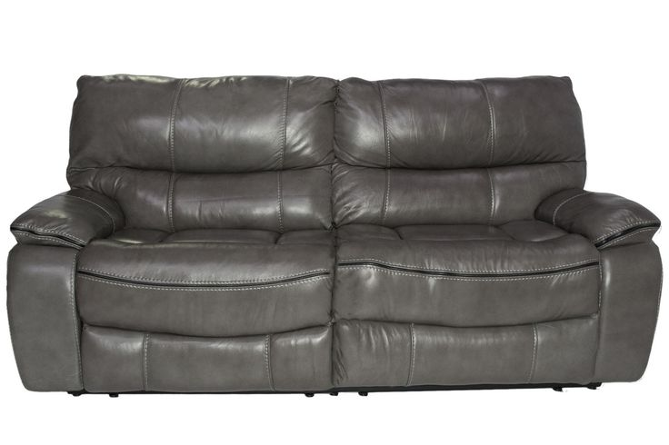Lotus Leather Seating Gray Reclining Sofa Media Image 1