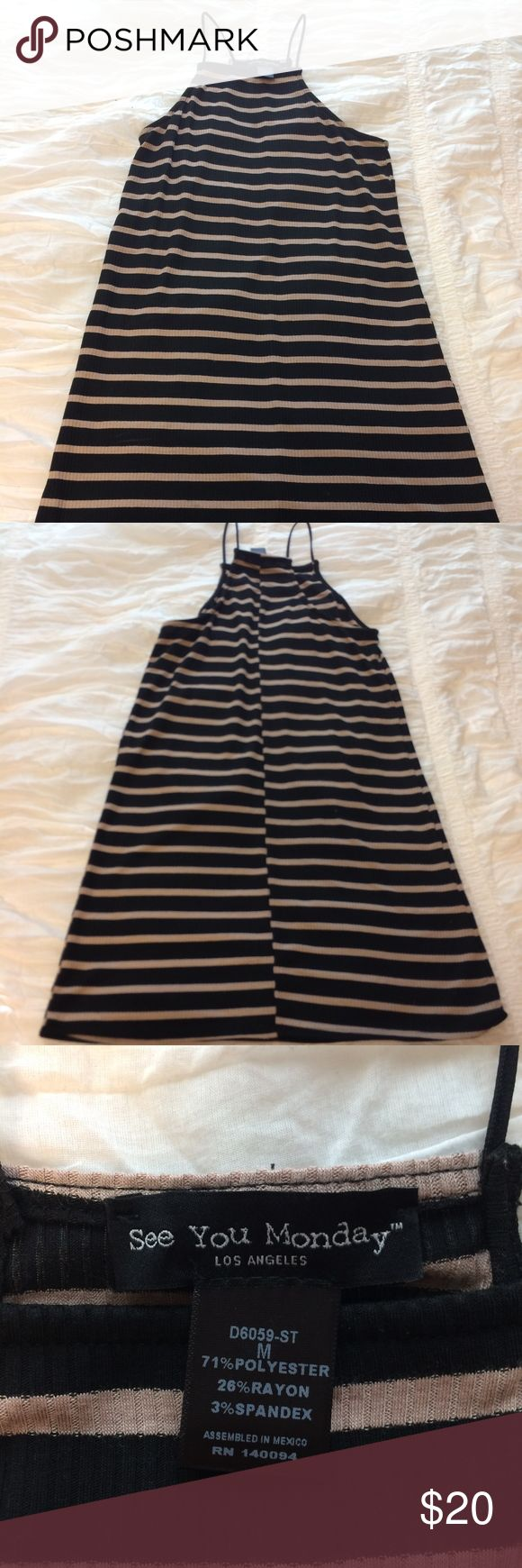 NWOT See You Monday Striped Bodycon Mini Dress Never been worn (without tags) black + tan striped, body con, mini dress from See You Monday! See You Monday Dresses Mini