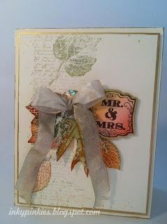Golden Autumn Wedding Card - French Foliage, leaves.