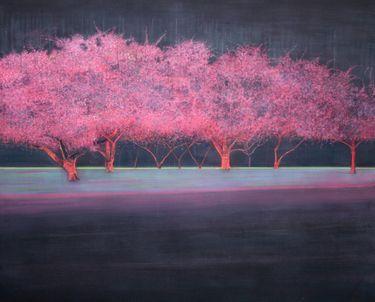 "Saatchi Online Artist Thomas Lamb; Painting, ""Blossom Trees in the Rain at Night"" #art"