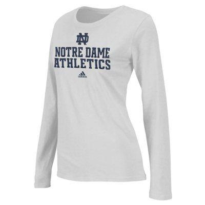 adidas Notre Dame Fighting Irish Women's Football Practice Long Sleeve T-Shirt - White $25