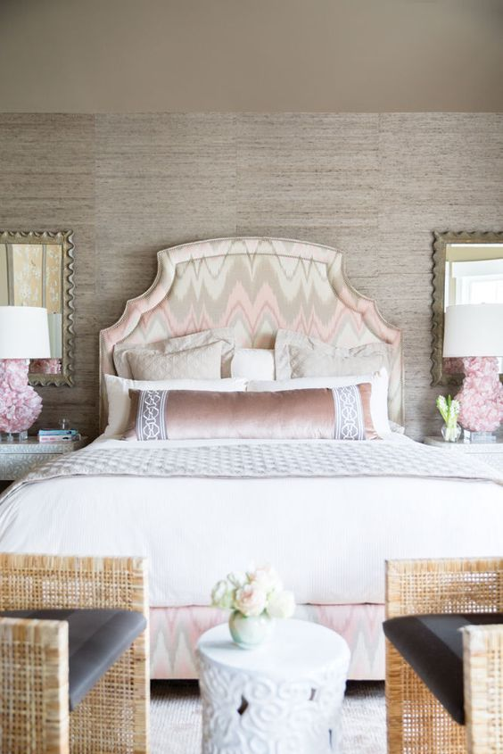 ikat fabric headboard, grasscloth wallpaper