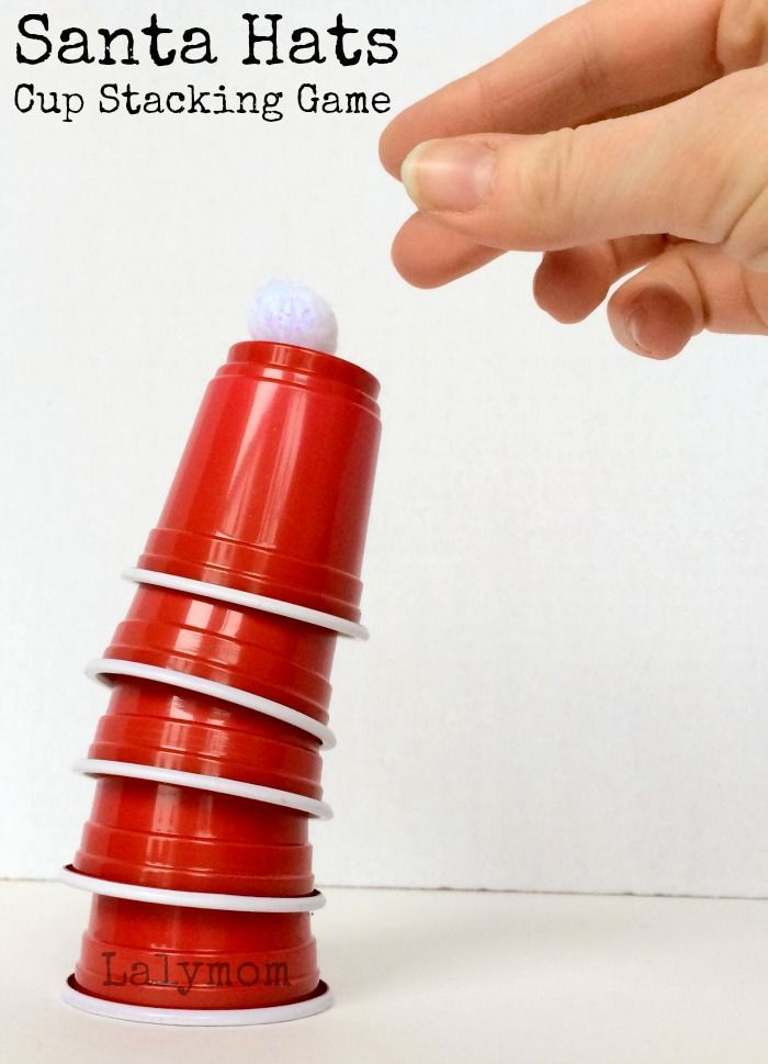 Christmas Games for Kids - Santa Hats Cup Stacking Games on Lalymom - Click through for ways to play and easy shopping list!