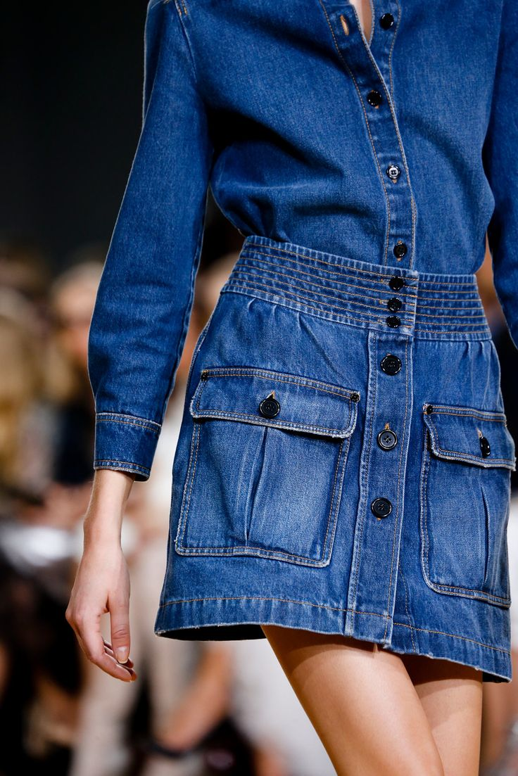 inspiration post denim skirt outfit on catwalk