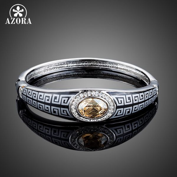 AZORA Unique Design Champagne Stellux Austrian Crystal Waterdrop Bangle Bracelet for Women TB0073