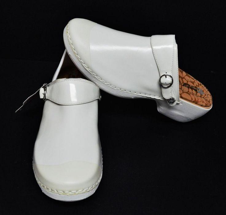 NEW Rocky 4EurSole Womens 8 8.5 39 M Nursing Clogs White Patent Leather 3 In 1  #Rocky4EurSole #ConvertibleClogs #WeartoWork