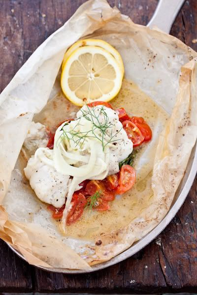 Looks yummy and healthy AND I have most of it still in the garden.     Provencal Fish baked in parchment