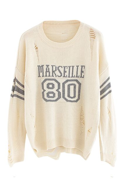 abaday | Letter Print Cream Jumper, The Latest Street Fashion