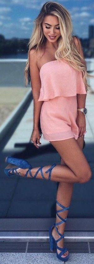 #summer #clothing #trends | Pink Two Piece Set + Blue Lace Up Heels
