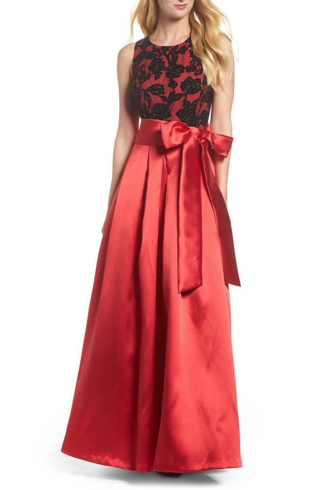 27b3abac6745 NEW ELIZA J Red Black Floral Glitter Velvet Burnout Sash Bow Mikado Ball- Gown 12 #fashion #clothing #shoes #accessories #womensclothing #dresses  (ebay link)