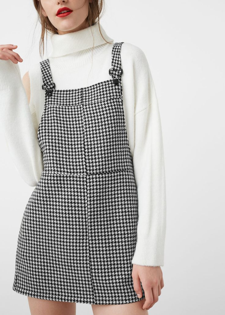 Houndstooth pinafore dress - Dresses for Women | MANGO USA
