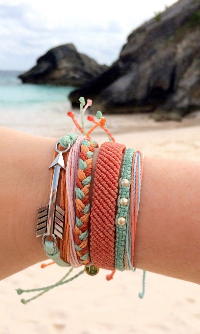 Shore Break Style - Layer on the bracelets in coral and mint, add an arrow for a boho look!